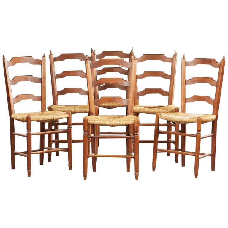 Set of Six French Provincial Carved Cherry Rush Seat Dining Chairs, 20th Century