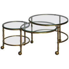 Solid Brass Faux Bamboo Nesting Tables