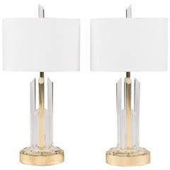 Pair of Lucite and Brass Table Lamps with White Linen Shades