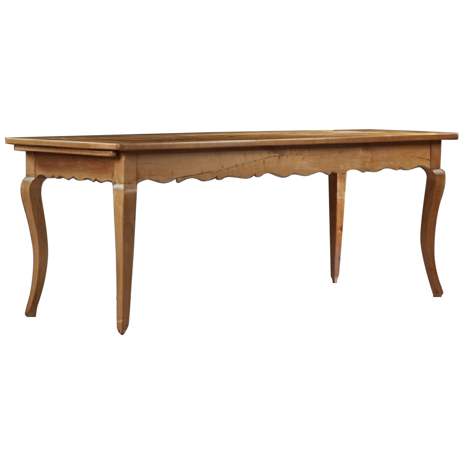 French, Louis XV Style Fruitwood Farm Table on Cabriole Legs, 19th Century