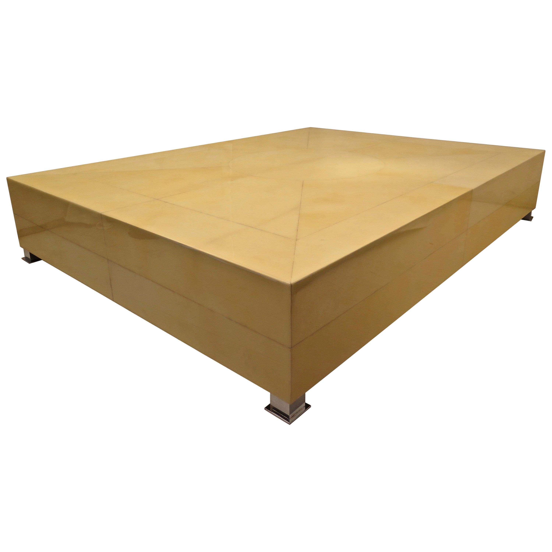 Squarish Goat Skin and Resin Italian Modern Sofa Table
