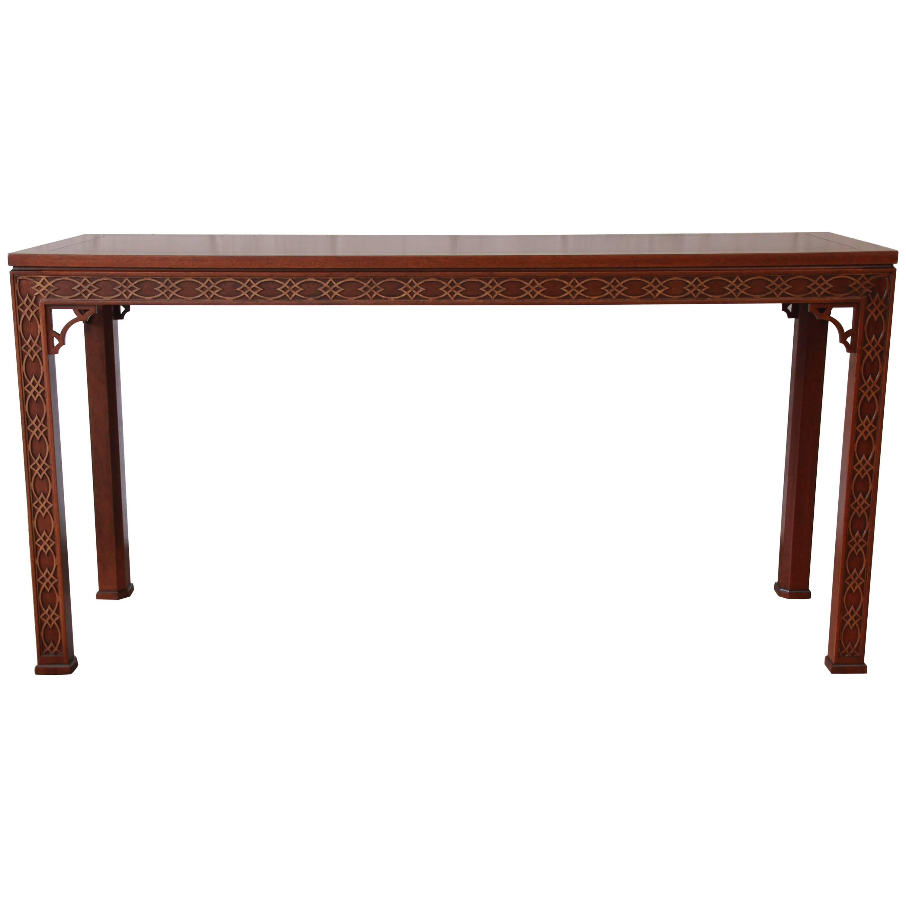Delightful Fine Carved Mahogany Chinese Chippendale Hall Table By Kindel