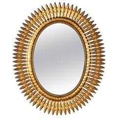 Gilded Metal Sunburst Mirror, Spain, 1950s