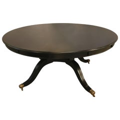 Monumental Hollywood Regency Custom Made Ebony Circular Extending Dining Table