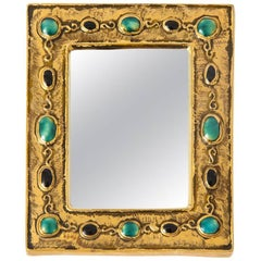 Francois Lembo Ceramic Mirror Gold Jade Black Jewels Signed France, 1970s