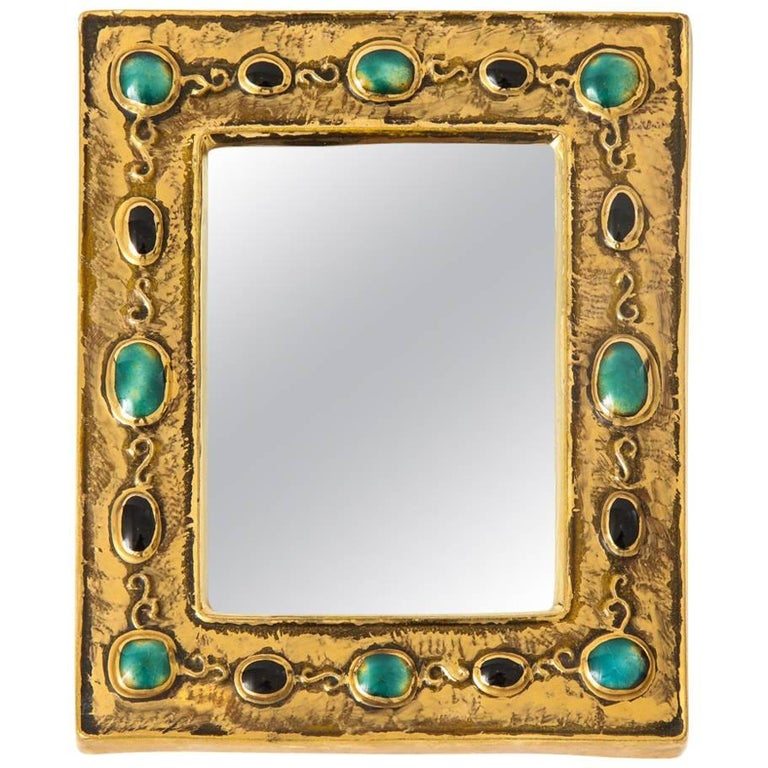 Francois Lembo Ceramic Mirror Gold Jade Black Jewels Signed France, 1970s
