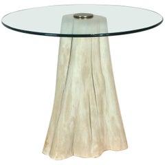 Cerused Tree Trunk Side Table