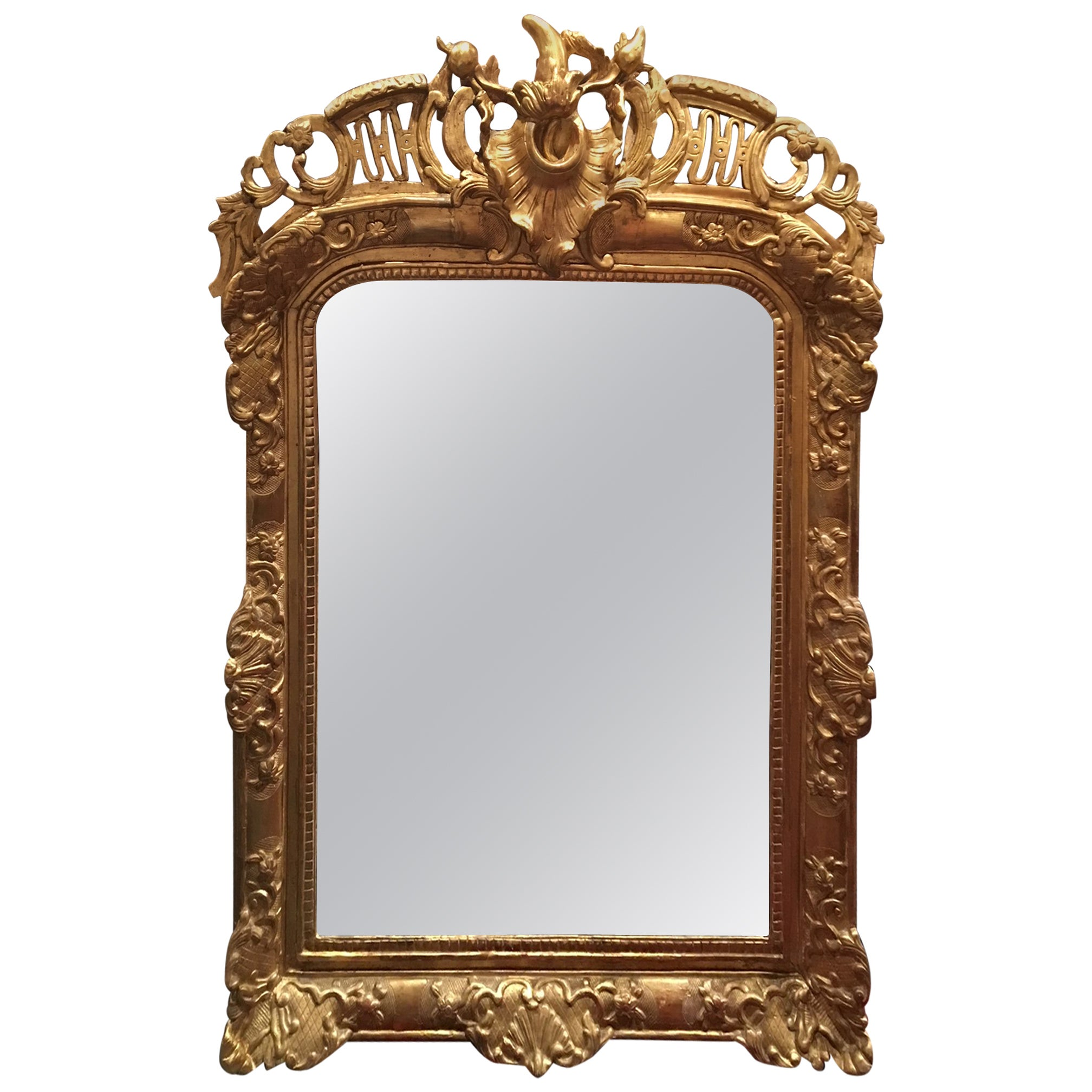 Louis XV Style Giltwood Overmantel Mirror, Early 19th Century