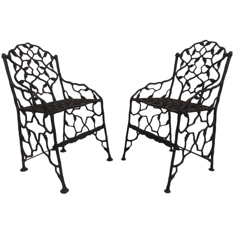 Rare Pair of Vintage Cast Iron Chairs by Fiske For Sale - Rare Pair Of Vintage Cast Iron Chairs By Fiske For Sale At 1stdibs