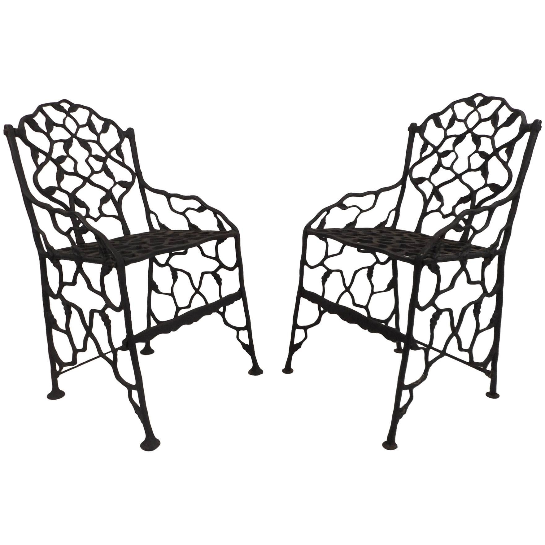 Rare Pair Of Vintage Cast Iron Chairs By Fiske For Sale