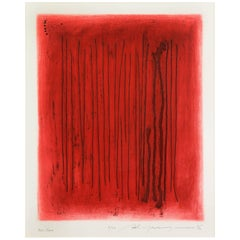 Adja Yunkers Lithograph Abstract Red Echo Black Signed USA, 1970s