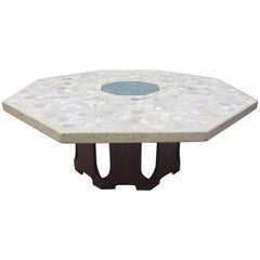 Harvey Probber Terrazzo Inlaid Turquoise Centre Coffee Table or Cocktail Table