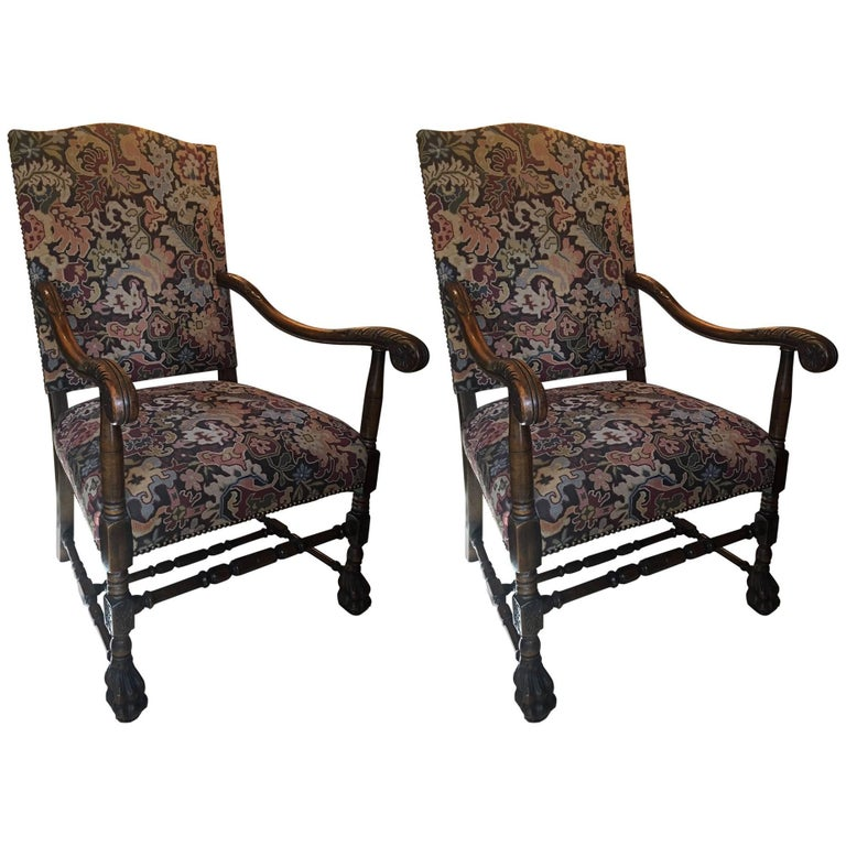 Pair of Carved Flemish Armchairs, 19th Century For Sale