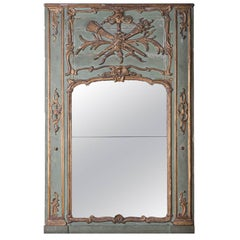 19th Century Painted and Gilded Trumeau Mirror