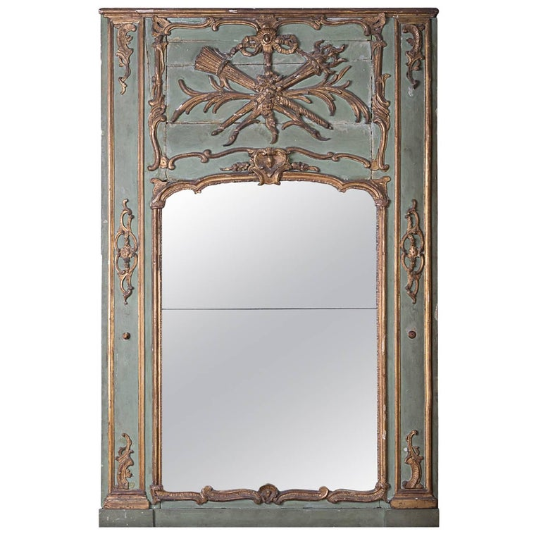 19th Century Painted and Gilded Trumeau Mirror For Sale