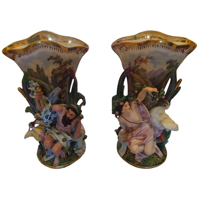 Pair Of Antique Vieux Paris Old New Orleans Porcelain Vases From A