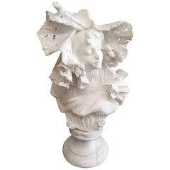 Italian Art Nouveau Alabaster Marble and Bust of a Beautiful Young Woman
