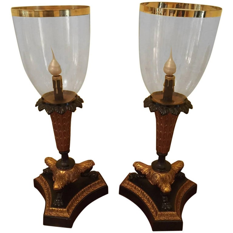 Pair of Parcel-Gilt Bronze Hurricane Lamps