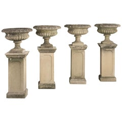 Series of Four Garden Urns with Pedestals, circa 1950