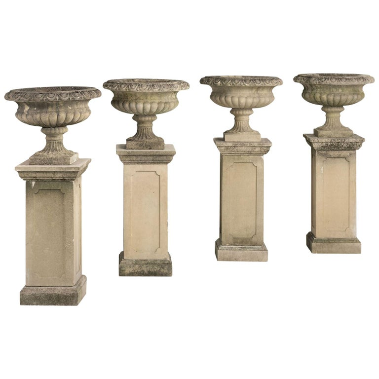 Series of Four Garden Urns with Pedestals, circa 1950 For Sale