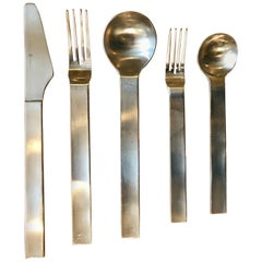 Set of Modern Stainless Steel Flatwear, Service for Eight in the Style of Dansk