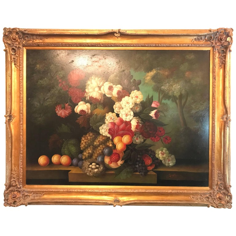 Palatial Framed Oil on Canvas Still Life of Flowers