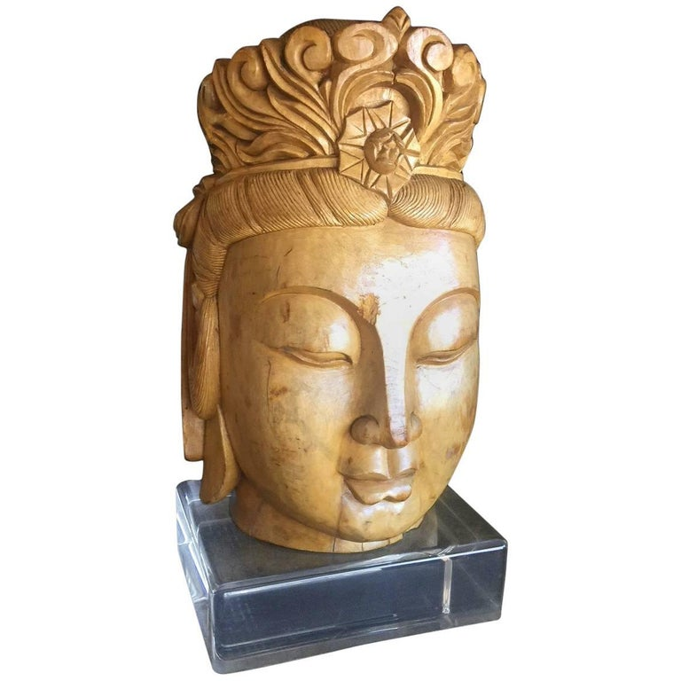 Impressive Hand-Carved Wooden Buddha Head on Acrylic Base