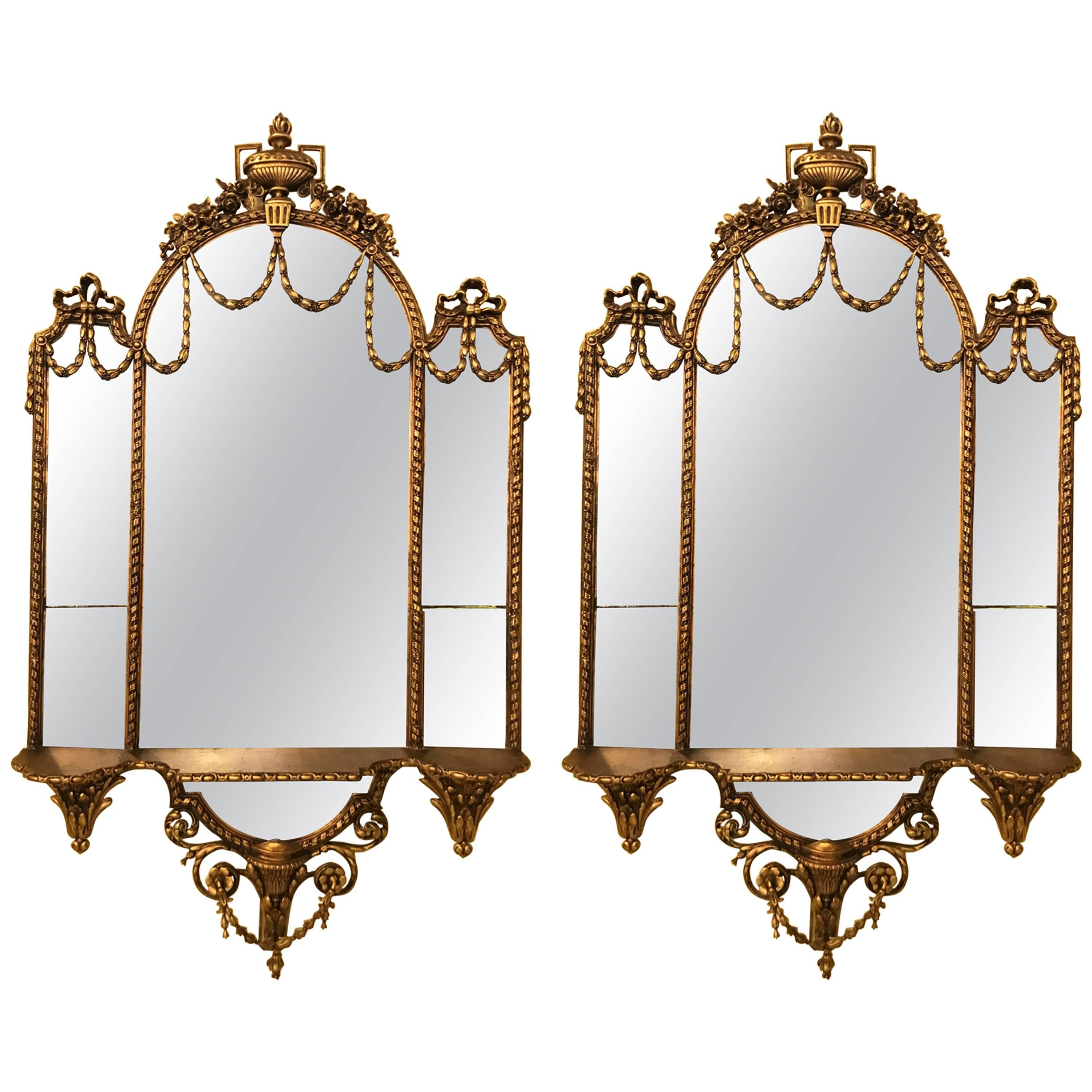 Pair of George III Style Giltwood and Composite Shelved Wall / Console Mirrors