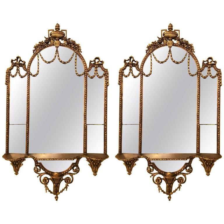 Pair of George III Style Giltwood and Composite Shelved Wall / Console Mirrors For Sale