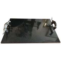 Black Marble Serving Tray with Brutalist Bronze Cat Handles by Michael Aram