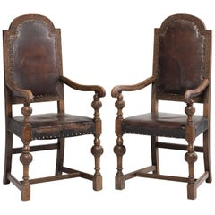 Pair of Oak and Leather Carver Armchairs, circa 1880