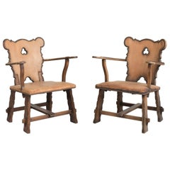 Pair of Oak and Leather Country Armchairs, circa 1930