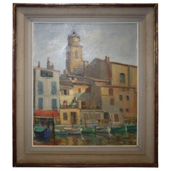 "Charming French Oil on Canvas ""Le Port"", Dated and Signed"