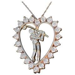 Jose Hess Vintage Diamond Golfer Heart Pendant 2.09 total carats