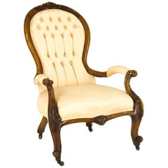 Antique Gentleman's Chair Walnut Chair Open Armchair, Scotland, 1870