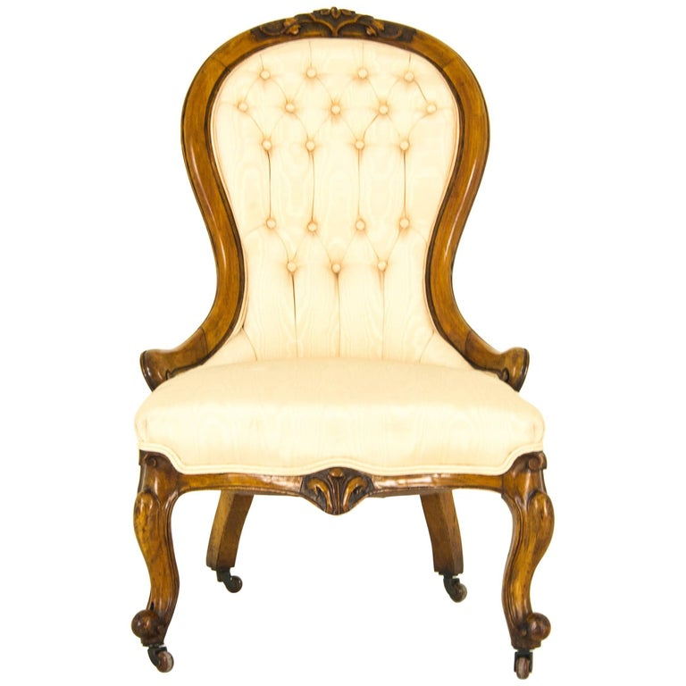 Victorian Armchair Antique Carved Walnut Scotland 1870 Reduced