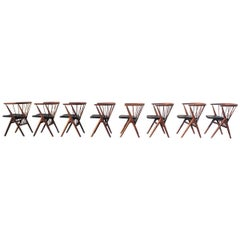 Helge Sibast Set of Eight Teak Chairs with Leather Seat Model N°8