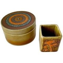 Bruno Gambone Ceramic Italian Modernist Covered Box Desk Set