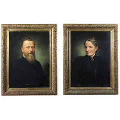 Pair of 19th Century Oil on Canvas Portraits