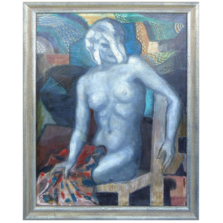 """Woman in Studio"" Original Oil on Canvas by Felix Pascual, Spain, circa 1930 For Sale"