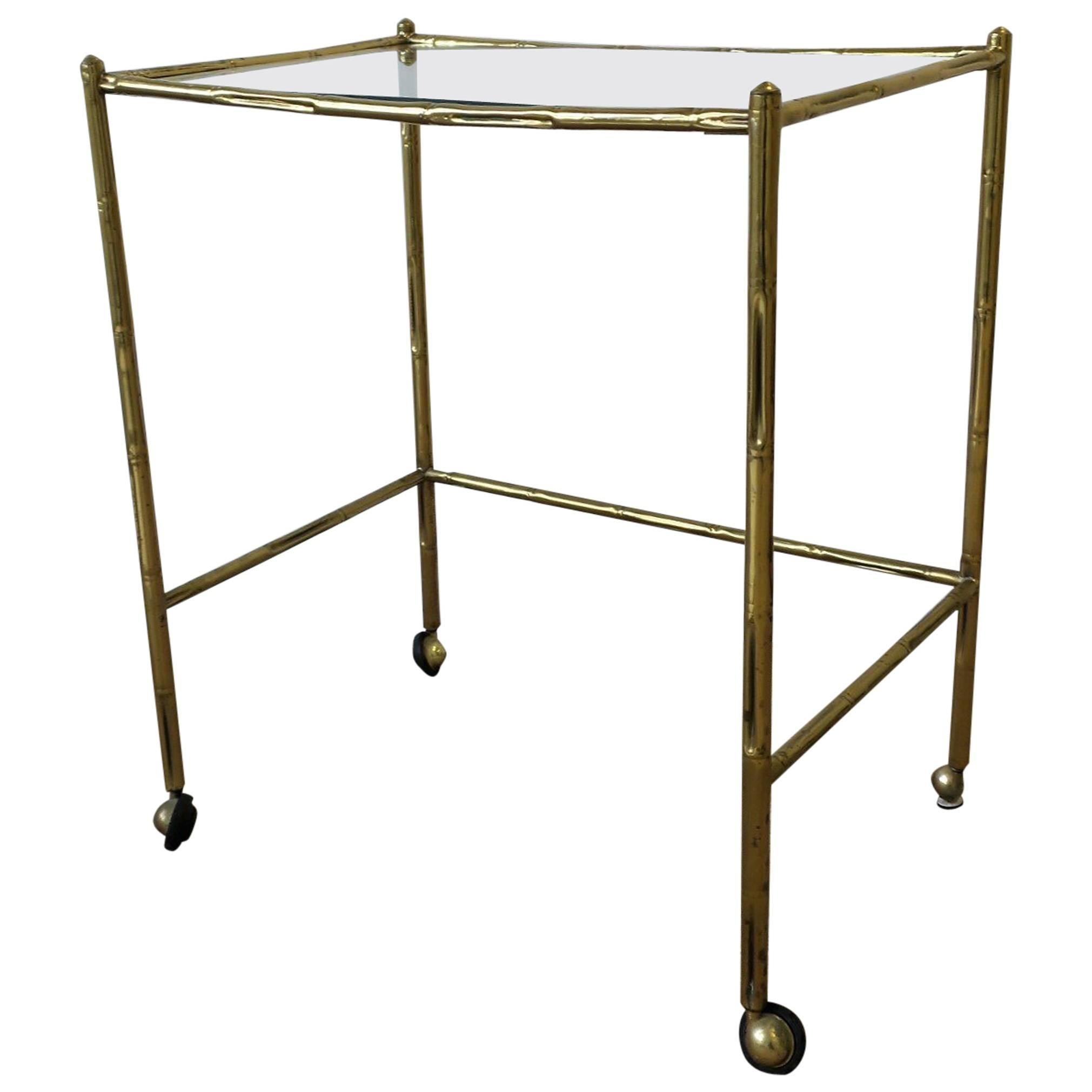 Italian Glass and Brass Bamboo Bar Cart