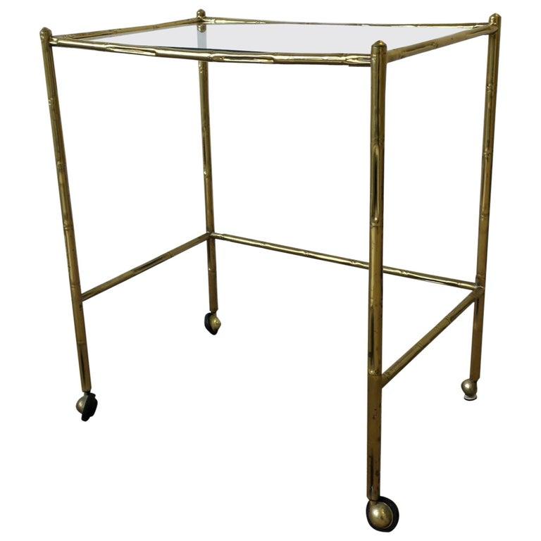Italian Glass and Brass Bamboo Bar Cart For Sale