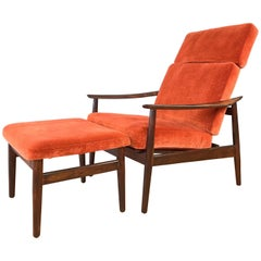 Arne Vodder for France & Son Rosewood Reclining Lounge Chair and Ottoman