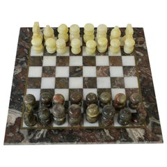 Vintage Marble and Brass Chess Game Set