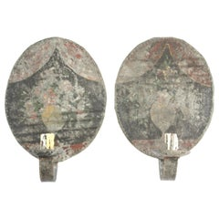 Rare Pair of American Paint Decorated Ballroom Sconces