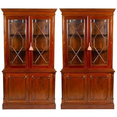 Pair of English Georgian Style Mahogany Bookcases or Breakfronts