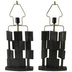 Pair of Vintage R & Y Auguosti Snakeskin Deconstructed Column Lamps