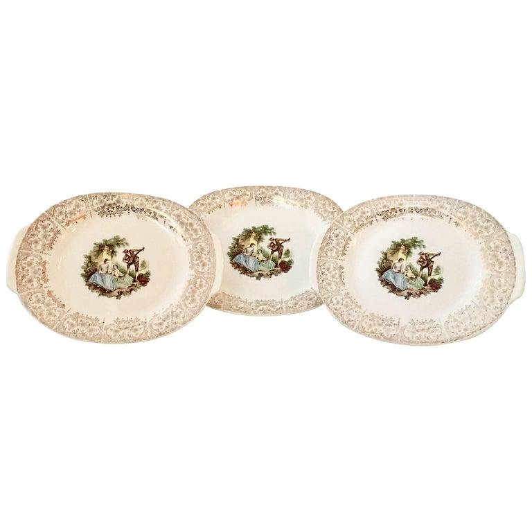 1940'S American Limoges Ceramic and 22-Karat Gold Set of Three Serving Platters