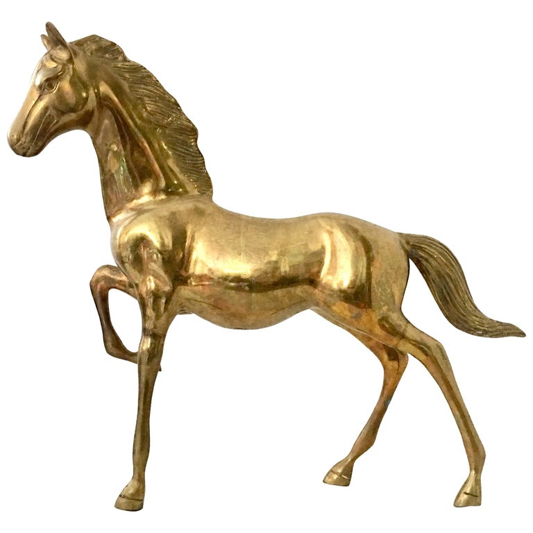 20th Century Solid Brass Galloping Horse Sculpture
