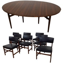 Midcentury Rosewood Extendable Dining Table by Arne Vodder and Eight Chairs